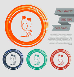 Headphones icons on the red blue green orange vector