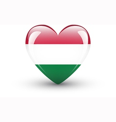 Heart-shaped icon with national flag hungary vector