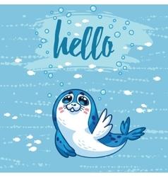Hello Cute card with cartoon baby Seal vector