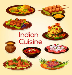 indian cuisine with meat and vegetable dishes vector image