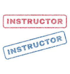 Instructor textile stamps vector