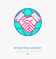 international agreement thin line icon vector image
