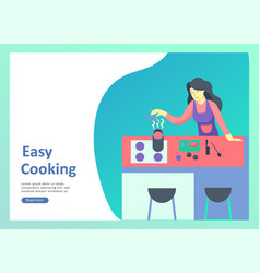 Landing page templates with people which cooking vector