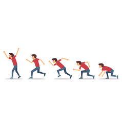 man step running on white background vector image
