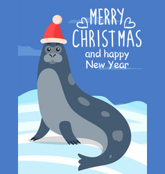 merry christmas greeting card with sea calf seal vector image
