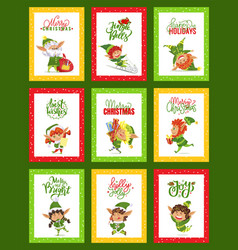 Merry christmas jingle bells collection cards vector