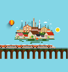 modern train on high bridge and abstract city on vector image