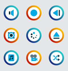 multimedia icons colored set with eject shuffle vector image