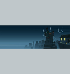 mysterious and spooky night scene banner vector image