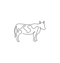 one single line drawing fat cow for husbandry vector image