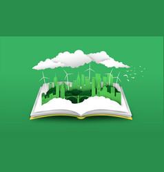 Open book 3d papercut green city concept vector