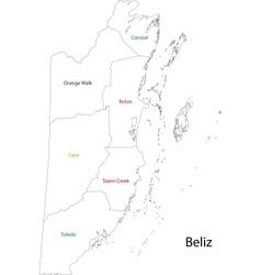 Outline Belize map vector image