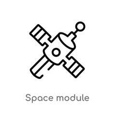 Outline space module icon isolated black simple vector