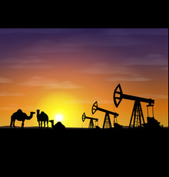 petroleum rigs and camels at sunset oil vector image