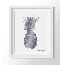 Pineapple in a white frame pineapple wall print vector