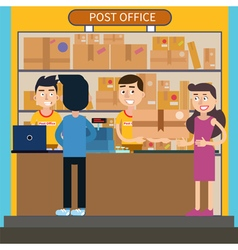Post Office Woman Receiving Parcel Postal Service vector image