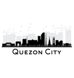 Quezon city skyline black and white silhouette vector