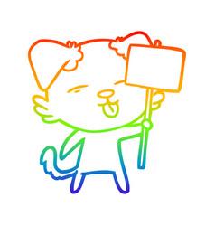 Rainbow gradient line drawing cartoon dog holding vector
