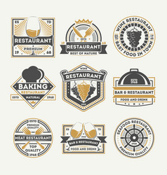 restaurant vintage isolated label set vector image