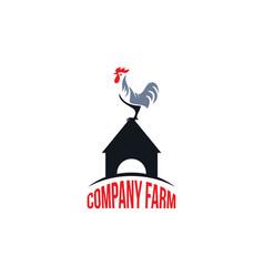 Rooster farm company logo template design vector