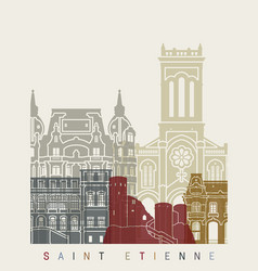 Saint etienne skyline poster vector