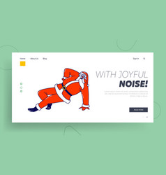 santa claus dancing on one arm landing page vector image