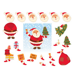 santa claus face and body elements vector image