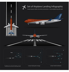 Set airplane landing infographic vector
