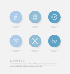Set of 6 editable cleaning icons includes symbols vector