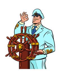 ship captain in a white uniform vector image