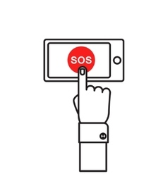 SOS button with hand vector