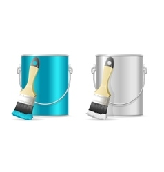 Steel Can Bucket and Paint Brush vector