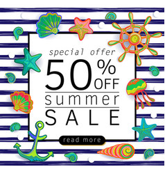 Summer sale background with marine life vector