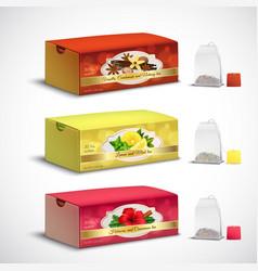 tea bags packaging realistic set vector image