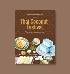 Thai sweet poster design with layered jelly vector