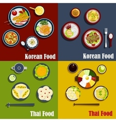 Traditional thai and korean dishes vector image