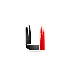 U alphabet letter red black with grunge brush vector