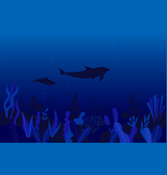 underwater ocean flora and fauna background vector image
