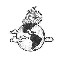 Vintage bicycle rides globe sketch vector