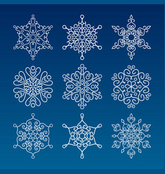 vintage outlined snowflakes isolated vector image