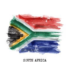 Watercolor painting flag of south africa vector