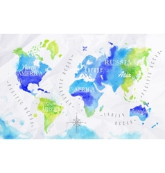 Watercolor world map green blue vector
