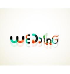 Wedding word font concept design vector image