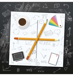Welcome Back to School Mockup White vector