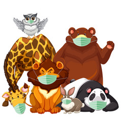 wild animals charater wearing mask vector image