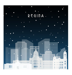 Winter night in regina night city in flat style vector