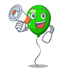 With megaphone green balloon cartoon birthday very vector