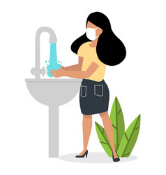 Woman washing her hands covid-19 vector