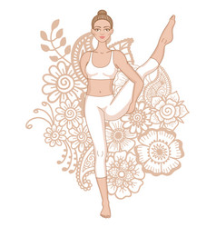 Women silhouette bird of paradise yoga pose vector