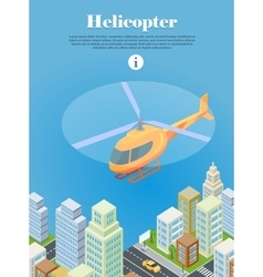 Helicopter fly over urban city type of rotorcraft vector